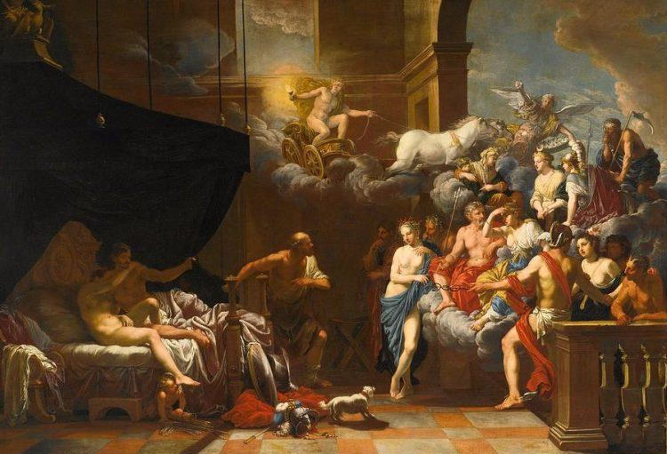 Hephaestus verrast Ares en Aphrodite in bed in het bijzijn van de andere goden, geschilderd door Johann Heiss in 1679