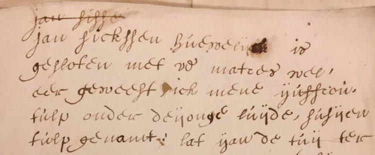 uitsnede Uitsnede uit brief van Wendela aan Johan, d.d. 1 juli 1655