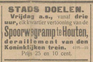 Advertentie uit de krant ter promotie van de filmbeelden