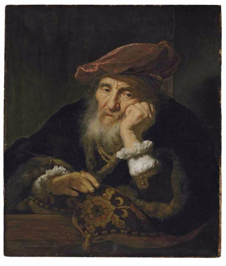 'Een oude man, leunend uit een raam' - Govert Flinck (Christies)