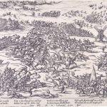 Een prent van de Slag op de Mookerheide door Frans Hogenberg.