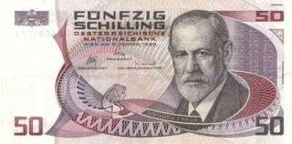 Freud op een Oostenrijks bankbiljet (1987)