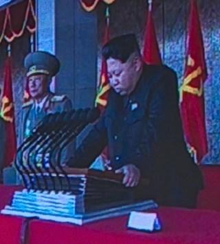 Kim Jong-Un tijdens een toespraak, 2015 (cc)