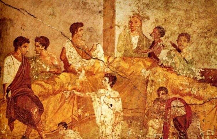Romeins banket - freco uit Pompeii - cc