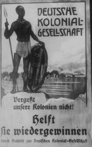 Poster ter promotie van de koloniale zaak. Bron: 039-7027-04. Universitätsbibliothek Frankfurt am Main: Das Bildarchiv der deutschen Kolonialgesellschaft.