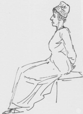 Laatste tekening van Marie Antoinette, op weg naar het schavot.
