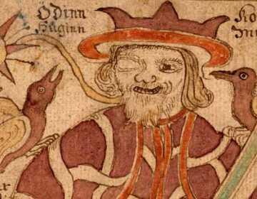 Huginn en Muninn zittende op de schouders van Odin. De illustratie komt uit een 18e-eeuws IJslands manuscript.