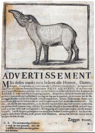 Het strooibiljet waarin bekend werd gemaakt dat de 'Equus aquaticus' te zien was bij de herberg De Witte Oliphant aan de Botermarkt. Anoniem, 1704