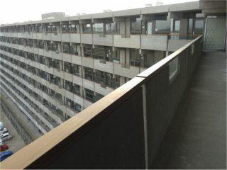 Foto uit eigen archief, 9 maart 2015. 'De gerenoveerde Kleiburgflat vanaf de tiende verdieping naar beneden.