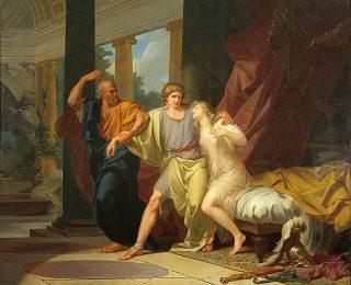 Socrates haalt zijn vriend Alcibiades weg bij een vrouw (Jean-Baptiste Regnault, 1791)