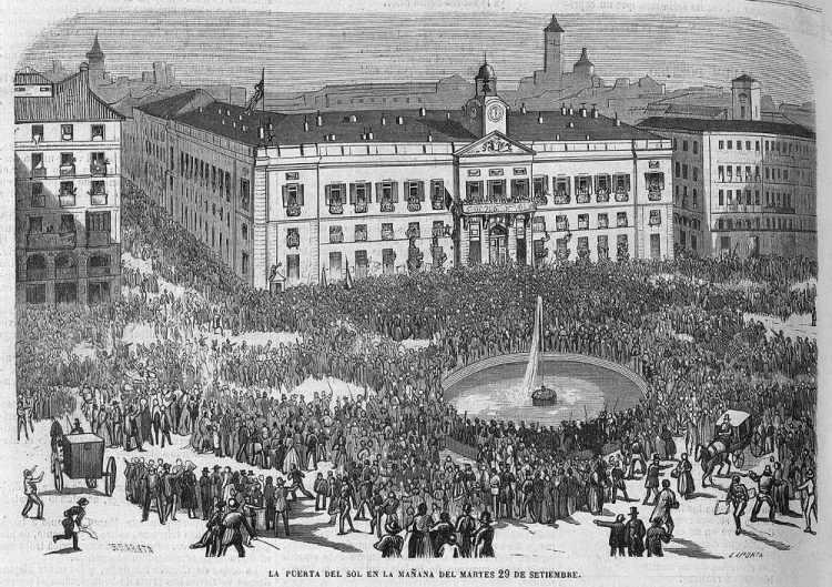 Puerta del Sol op dinsdag 29 september 1868