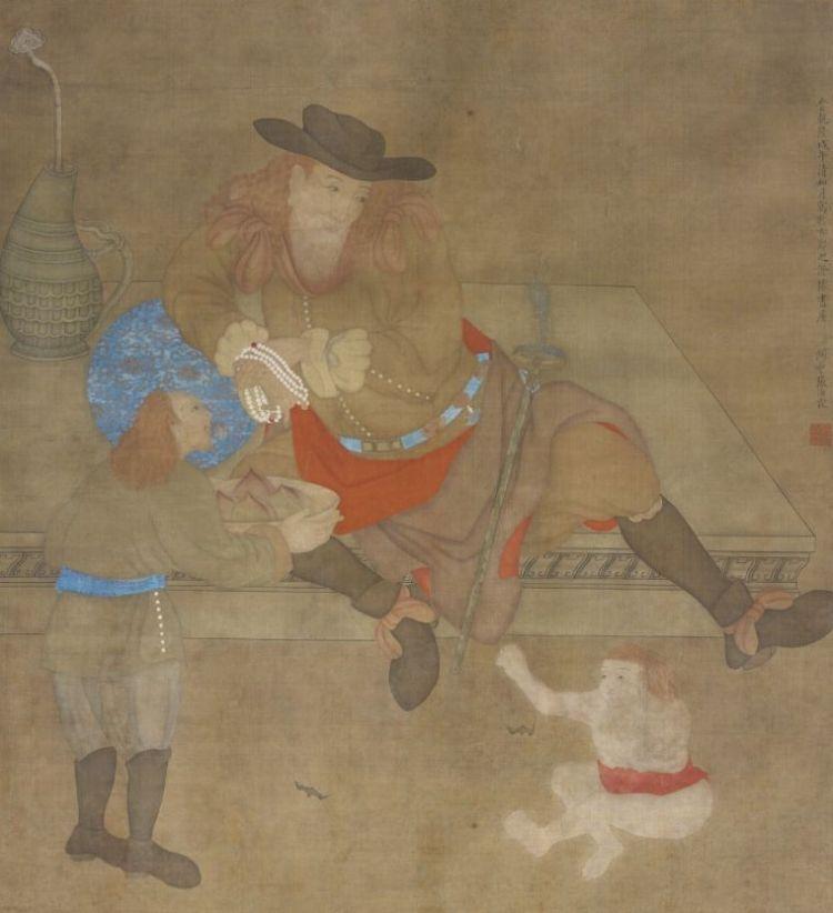 Zhang Rulin, Drie Nederlanders met rood haar, 1738, inkt en verfstof op zijde, 122,6 x 101,5 cm,  Rijksmuseum, Amsterdam