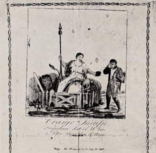 Op een afbeelding bij  het lied 'Oranje snuifje' troost de Nederlandse maagd, geflankeerd door de Nederlandse leeuw,  de verslagen Napoleon door een óranje snuufje'aan te bieden; snuiftabak.