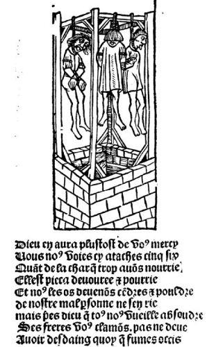 La Ballade des pendus, editie Treperel, Parisj, 1500.