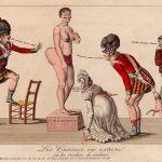 Negentiende-eeuwse illustratie waarop te zien is hoe Europeanen zich vergapen aan Saartjie Baartman