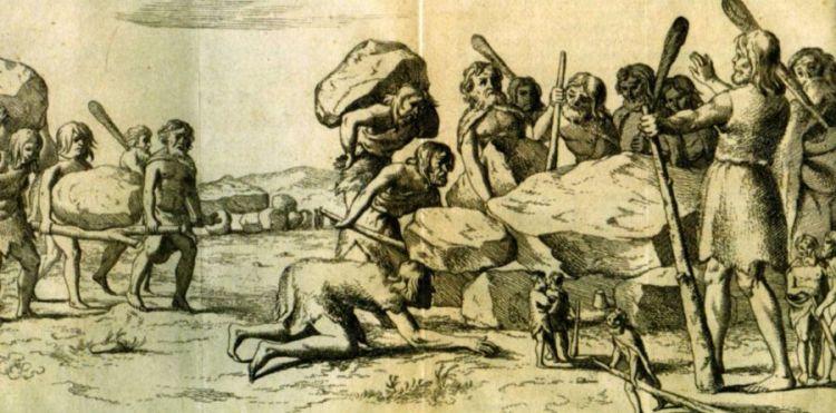 Reuzen bouwen de hunebedden; Ets van Gerrit van Goedesbergh in een boek van Picardt, 1660