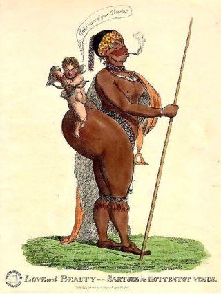 Saartjie Baartman op een spotprent (wiki)