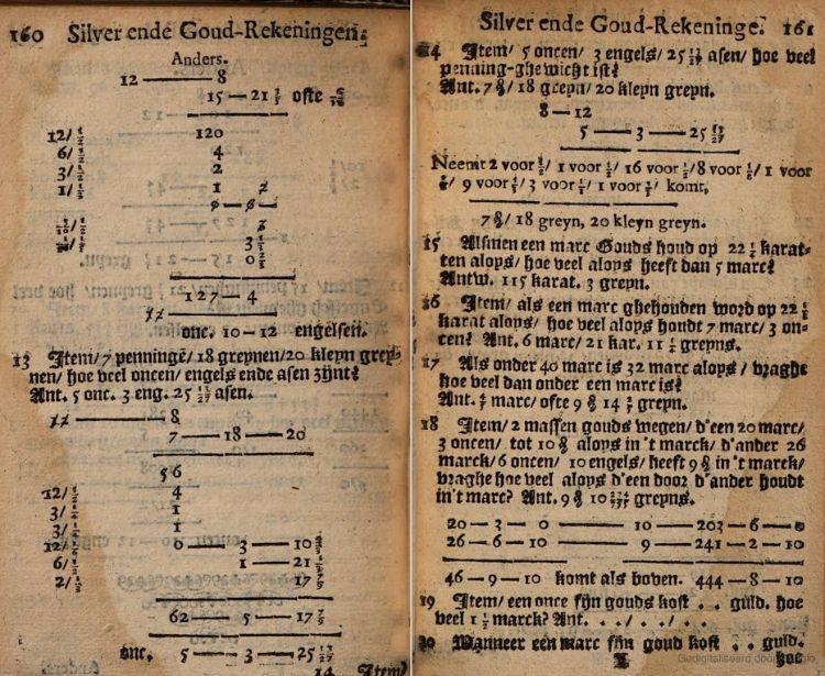 Twee pagina's uit de 'De Cijfferinghe van Mr. Willem Bartjens' (Google Books)