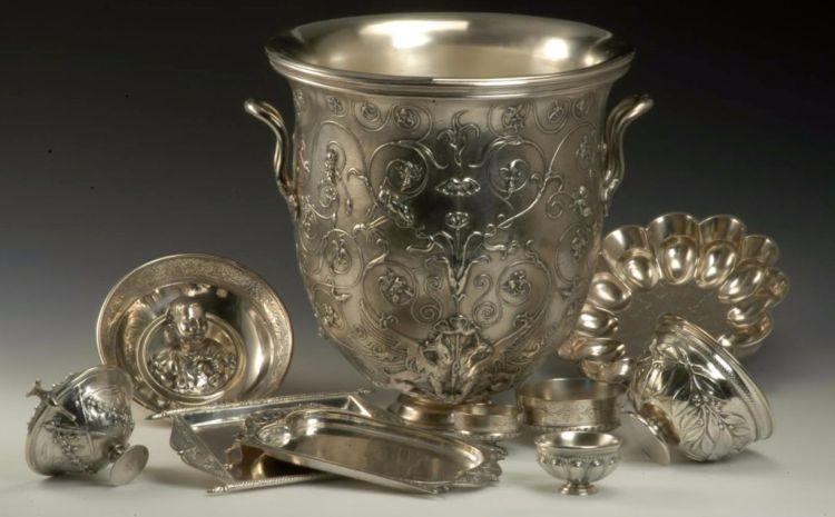 Servies (replica uit 1880), naar origineel uit Antiken Sammlung Berlin - Zilver servies, zeventig delen, Romeins, 1ste eeuw na Chr., gevonden in Hildesheim, 1868 (RMO)