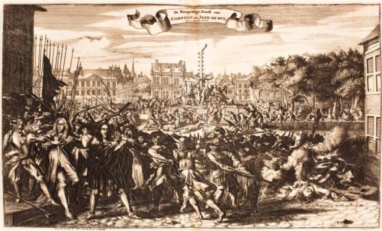 """""""De Rampzalige Doodt van Cornelis en Joan de Wit den 20. Augusti 1672""""."""