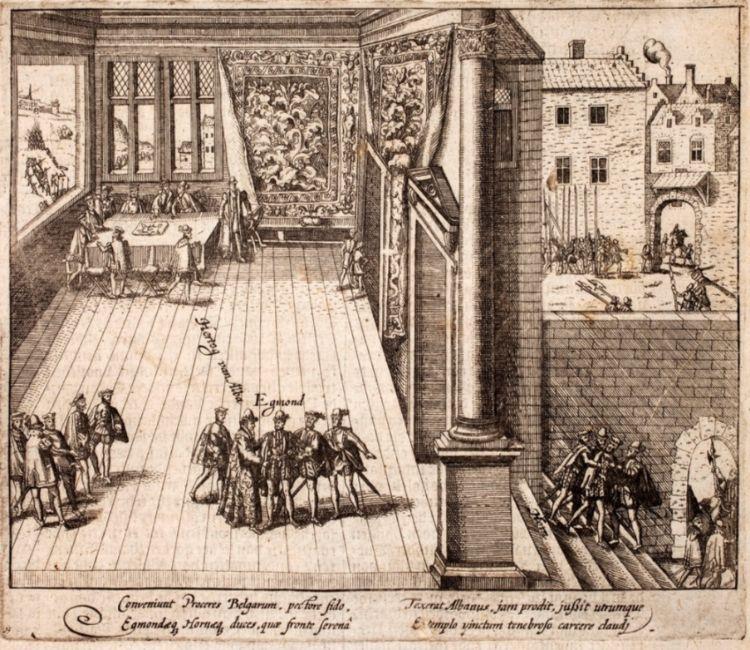 De hertog van Alva arresteert Egmont en Hoorne tijdens een diner, september 1567.[1] Pieter Christiaensz. Bor: Oorspronck, begin ende vervolgh der Nederlantsche oorlogen, 1621.