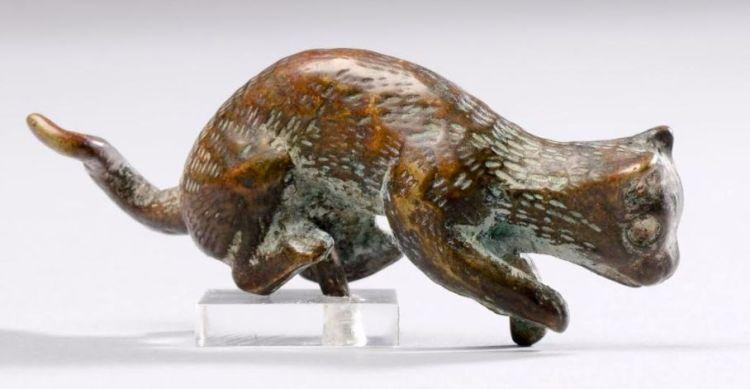 Beeldje van een kat - Brons, Romeins, 1ste-3de eeuw na Chr. (RMO)