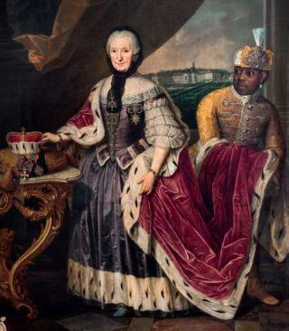 Johann Jakob Schmitz, Franciska Christine von Pfalz-Sulzbach met Ignatius Fortuna, 1772. De jongen Fortuna werd door schipper Franz Adam Schiffer mee uit Suriname genomen en aan de abdis vorstin Franciska von Pfalz-Sulzbach in Essen gegeven. Daar woonde hij in de hoofdvertrekken van het paleis Borbeck en in het weeshuis Steele.