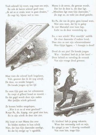Afbeelding uit 'Voor 't jonge volk'; de ouders van Gijs lopen nietsvermoedend over hun overleden zoontje heen...