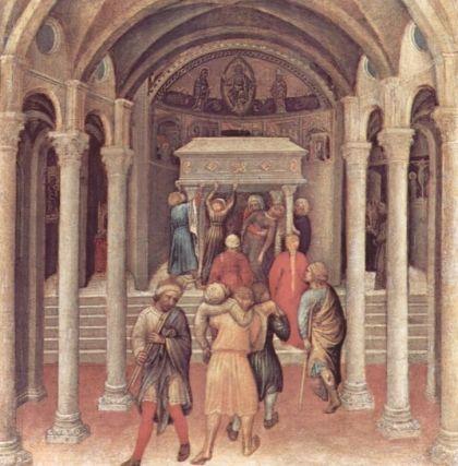 Zieken en pelgrims gaan naar het graf van Sint-Nicolaas (Gentile da Fabriano, 1425)