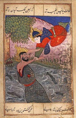 Het bekeringsverhaal van de profeet Jona staat ook in de Koran, al wordt de naam Ninevé niet vermeld. Op deze ismalitische prent uit de 16e eeuw ontmoet hij de aartsengel Gabriël.