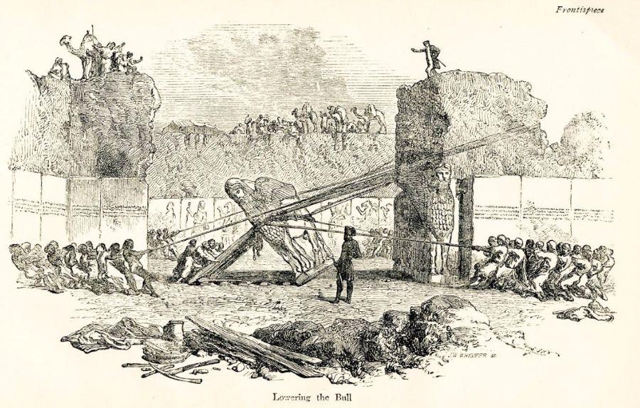 Opgraving van een Lamassu; een gevleugelde stier,  door de Britse archeoloog Layard. Het enorme beeld werd in 1852 in zijn geheel getransporteerd naar het British Museum.