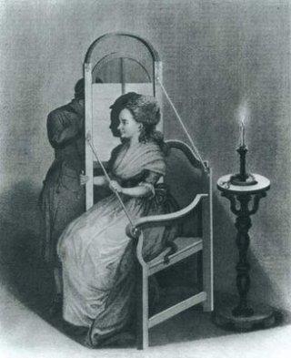 Afbeelding van iemand die bezig is met het maken van een schaduwportret (silhouet).