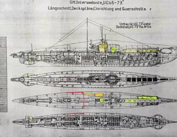 De bouwtekening van het onderzeeboottype waartoe de UC-69 behoort. (Defensie)