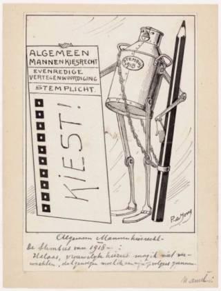 Pamflet voor Algemeen kiesrecht (Geheugen van Nederland)