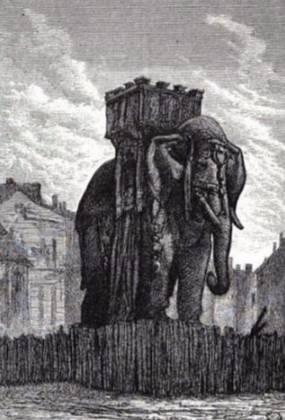 Tekening van de olifant in een uitgave van Les Misérables (Gustave Brion)