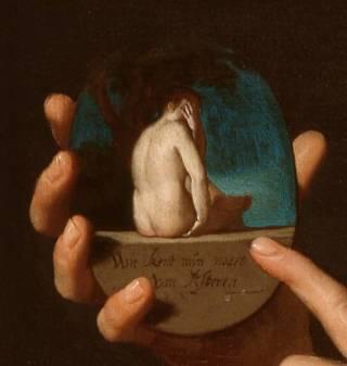 'wie kent mijn aars van achteren' - Detail van het werk van Honthorst ( Saint Louis Art Museum, Saint Louis)
