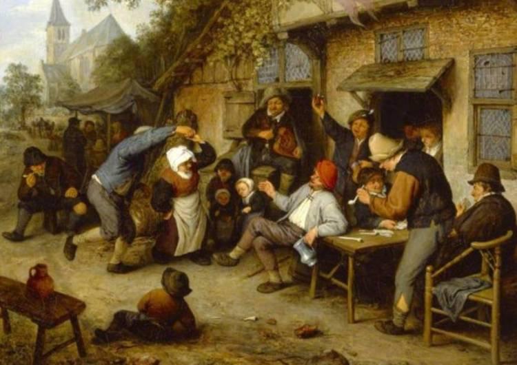 Dansende boeren voor een herberg, Adriaen van Ostade, 1670
