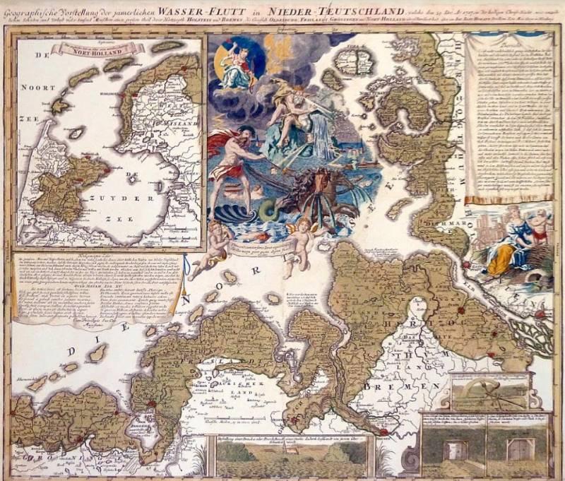 De Kerstvloed 1717 op een kaart uit 1720 van de Neurenberger cartograaf J.B, Homann. Volgens hedendaagse deskundigen heeft hij de omvang zwaar overdreven.