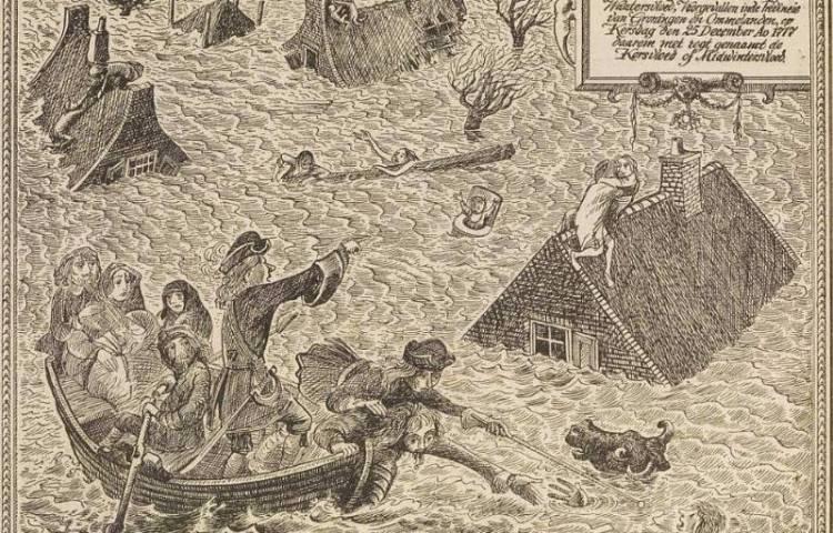 Dramatische illustratie van de verwonderenswaardige, droevige, schrikkelike en seer schaadelige Midwintervloed van 1717, geïnspireerd door het 'Historis Verhaal' van E.A. Crous. (ongedateerd, onbekende bron)