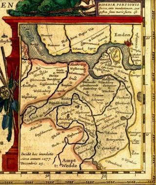 Kaart van het 'verloren Rheiderland' uit 1592, gebaseerd op een eerdere versie van Jacob van der Meersch in 1574 en later ook gepubiceerd in de atlassen van Joan Blaeu. Nu ligt daar de Dollard.