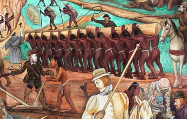 Detail van een muurschildering van Diego Rivera over de uitbuiting door conquistadores