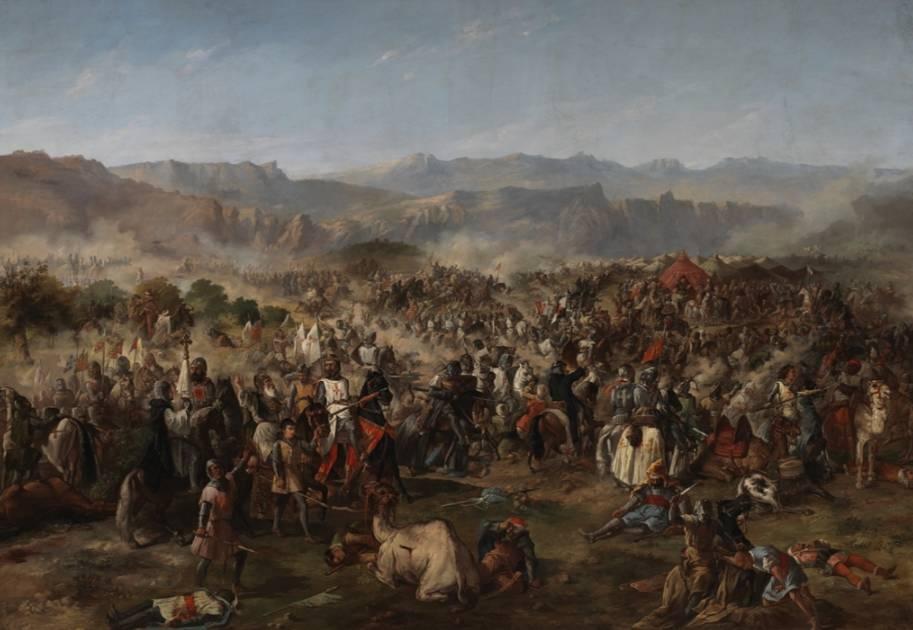 De slag bij Las Navas de Tolosa op een 19e-eeuws olieverfschilderij van F.P. van Halen