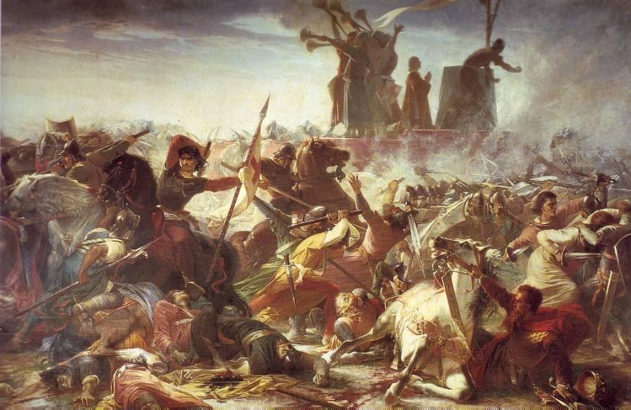 De slag bij Legnano, geschilderd door Amos Cassioli