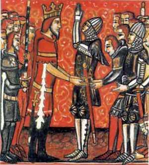 Roland vouwt zijn handen ten teken van manschap aan Karel de Grote; uit een manuscript van een chanson de geste.