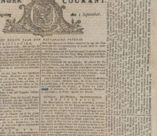 De Groninger Courant van 1 september 1795.