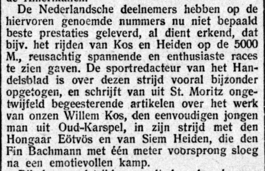 Artikel in de Gooi- en Eemlander over de Spelen van 1928 (16-02-1928, Delpher)