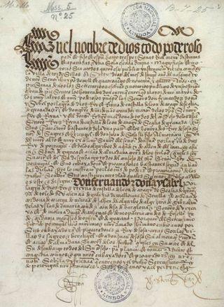 Eerste pagina van het Verdrag van Tordesillas (Nationale Bibliotheek in Lissabon)