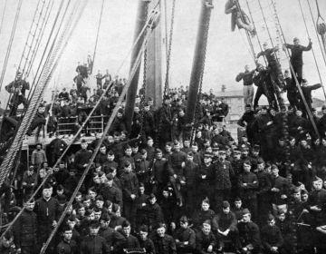 Transport van soldaten van de koloniale reserve in 1896 naar Indie