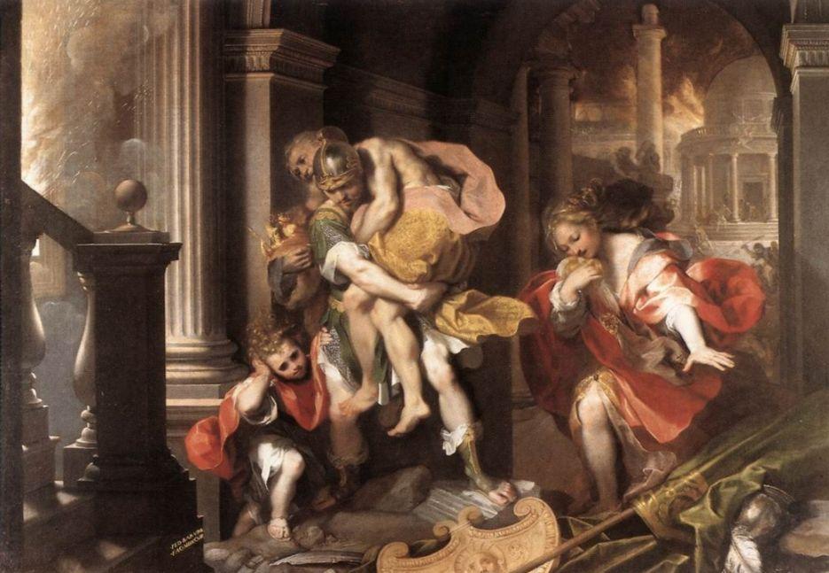 Aeneas' vlucht uit Troje, geschilderd door Federico Barocci