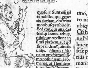 Erasmus' Lof der Zotheid - Tekening van Hans Holbein de Jonge in de marge van een vroege druk (Bazel 1515)